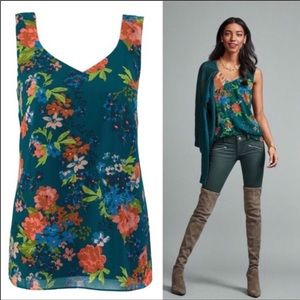 ✨SOLD✨Cabi Teal Floral Tank Top, Large